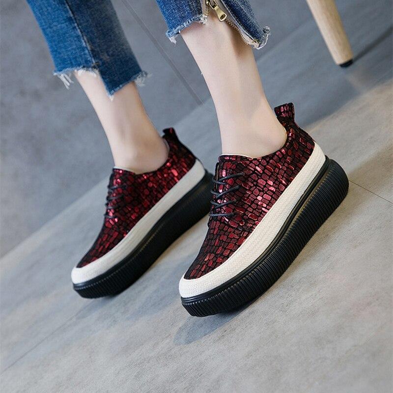 fabc9a7cdb8 Chaussure Otoño Mujer Marca vino Casual Calzado Pisos Plataforma Nueva  Tinto Plata Zapatillas Glitter Señora Transpirable 2018 Jookrrix Chica  Zapatos ...