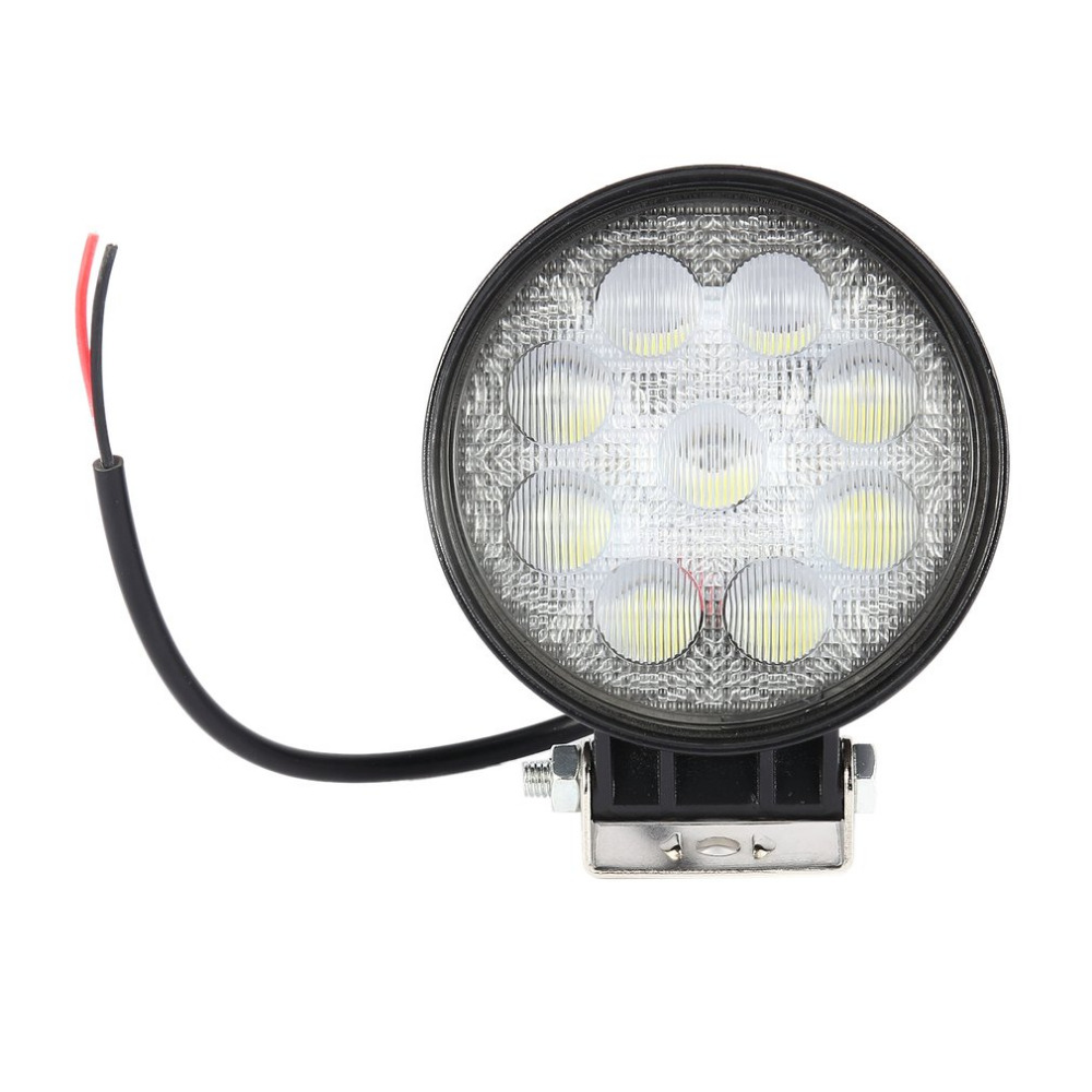 27W Car LED Work Light Waterproof Round Shape Car Headlight with 9pcs*3W LEDs For Boat Tractor Truck Off-Road Cars
