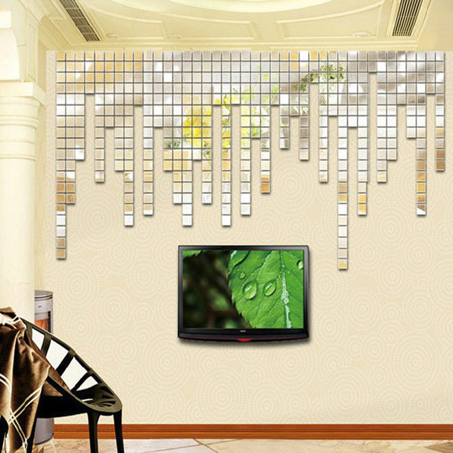 Bling Acrylic 3D Mirror Wall Stickers Decorations Living Room Home Accessories Modern Mosaic Adesivo De Parede Infantil 2x2cm