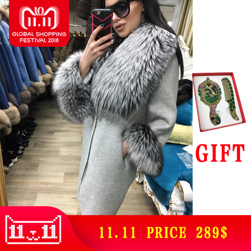 Лидер продаж кашемировое пальто Для женщин рукавом воротник натуральный реальный лисий мех свободные из натуральной кожи куртка Для женщи...
