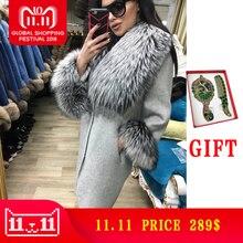 Лидер продаж кашемировое пальто Для женщин рукавом воротник натуральный реальный лисий мех свободные из натуральной кожи куртка Для женщин пальто натуральный мех пальто