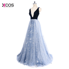 Blue Sexy Deep V Neck Prom Dresses Floor Length Backless Beads Crystal Star  Formal Sleeveless Evening 7bca3c7c8137