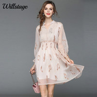 Willstage 2018 Autumn Chiffon Dress Mesh Hollow out Empire music Pattern Printed Mini dresses Women Sexy V neck Elegant Vestidos