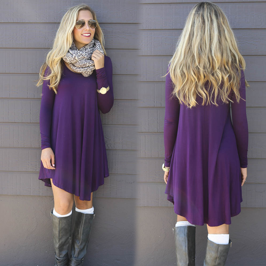 2016 Fashion Womens Long Sleeve Casual Dress Women Loose Mini Torch Tunik Burgundy Maroon Xl Black Purple Wine Red Green 4 Colors Plus Size In Dresses From Clothing