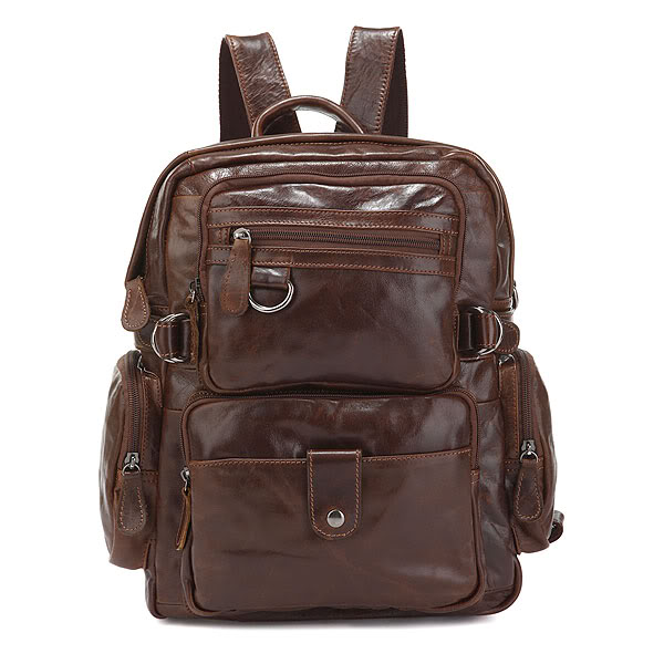 J.M.D Top Quality Genuine Leather Multi Pockets School Bag for College Student Fashion Brand Causal Travel Bag 7042Q