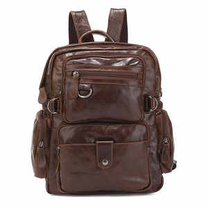 925172628e83 J.M.D Top Quality Genuine Leather Multi Pockets School Bag for College  Student Fashion Brand Causal Travel Bag 7042Q