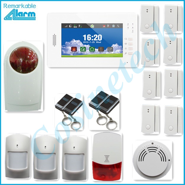 Hot selling 7 inch touch screen 868MHZ Smart home security fire alarm system,police siren kit IOS Android APP GSM alarm system