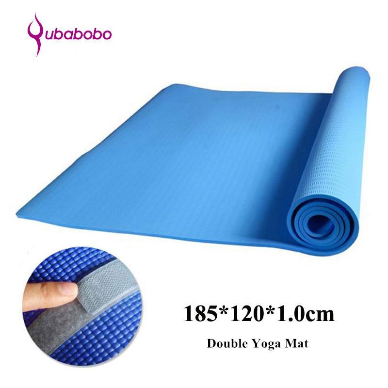 QUBABOBO 10MM NBR neslīdošs Unisex dubultā jogas mats fitnesa - Fitnesa un kultūrisms