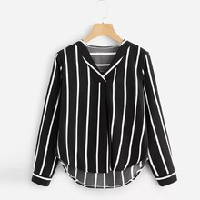 Women 2019 Turn Down Collar Pocket Blouse Shirt Cute Letter Print Loose Casual