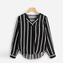 Womens Tops And Blouses Autumn Vintage Long Sleeve Shirt 2019 Women Clothes Striped Korean Ladies Tops Fashion Clothing(China)