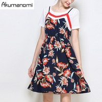Two-piece Women Set Round Collar Loose Short Sleeves White T-shirt And Flower Slip Dress Leather Straps Plus Size 5XL 4XL 3XL XL