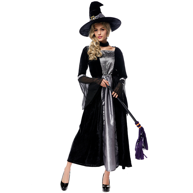 Umorden Halloween Purim Party Classic Gray Black Mesh Adult Women Witch Costumes Witches Costume Cosplay Long Dresses for Woman