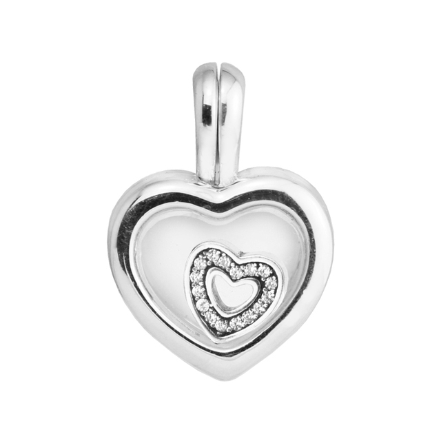 Floating Heart Locket Beads Fit European Charms Bracelets Real 925 Sterling-Silv