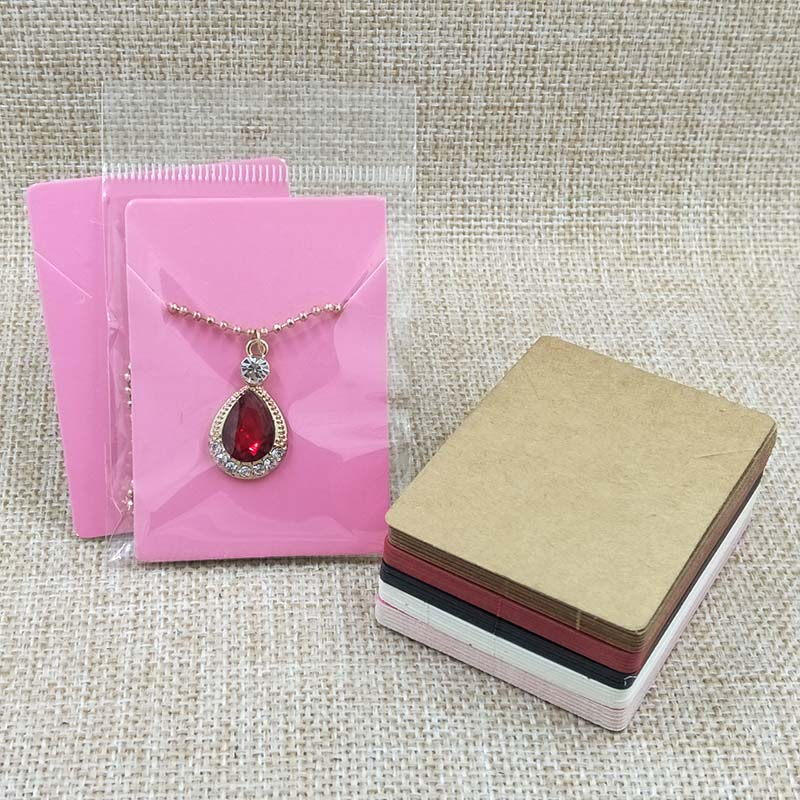 Wholesale Free Shipping 1.96x2.75'' Necklace Display Card Pendant Card Pink Necklace Card 1lot=100cards +100pcs Opp Bags