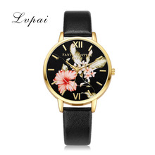 Lvpai Top Brand Leather Watches Women Fashion Gold Flowers Casual Bracelet Quartz Watch 2017 Ladies Dress Sport Clock Christmas