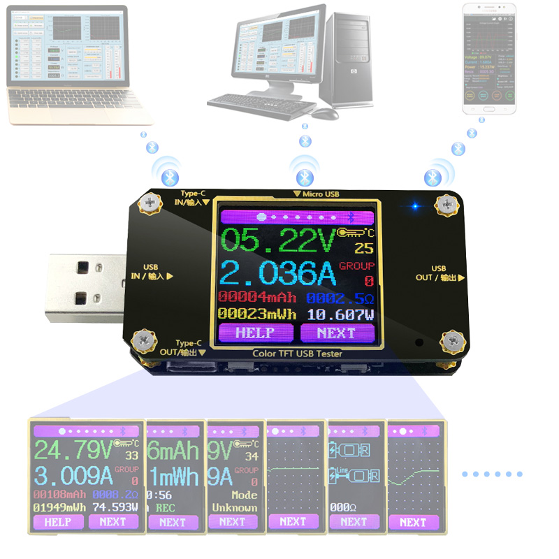 A3 USB tester Farbe Bluetooth Typ C Digital voltmeter dc spannung strom meter amperemeter detektor energienbank-ladegerät anzeige