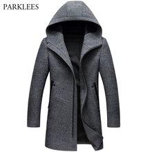 Мужское шерстяное пальто, зимняя кашемировая куртка с капюшоном, Мужская брендовая модная верхняя одежда, теплое пальто на молнии, Шерстяное полупальто 3XL