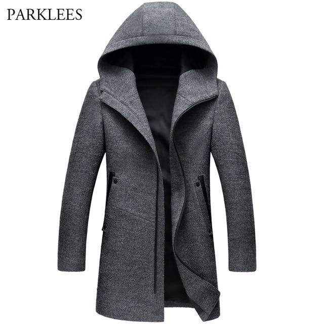 Cappotti di Lana Giacche da uomo Inverno Cashmere Giacca Con Cappuccio da  Uomo Mens di Marca 6dcfe6029bce
