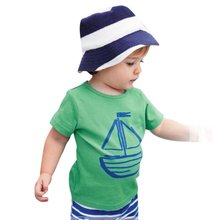 2 PCS Kids Summer Clothes Sets Pirate Ship Cartoon Printed T-Shirt+ Stripe Pant Kids Boy Clothing Set For Kids