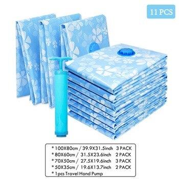 11 PCS Espessamento Vácuo Saco De Armazenamento De Pano Saco Comprimido com Bomba de Mão Reutilizáveis Roupas Cobertor Colcha Organizador