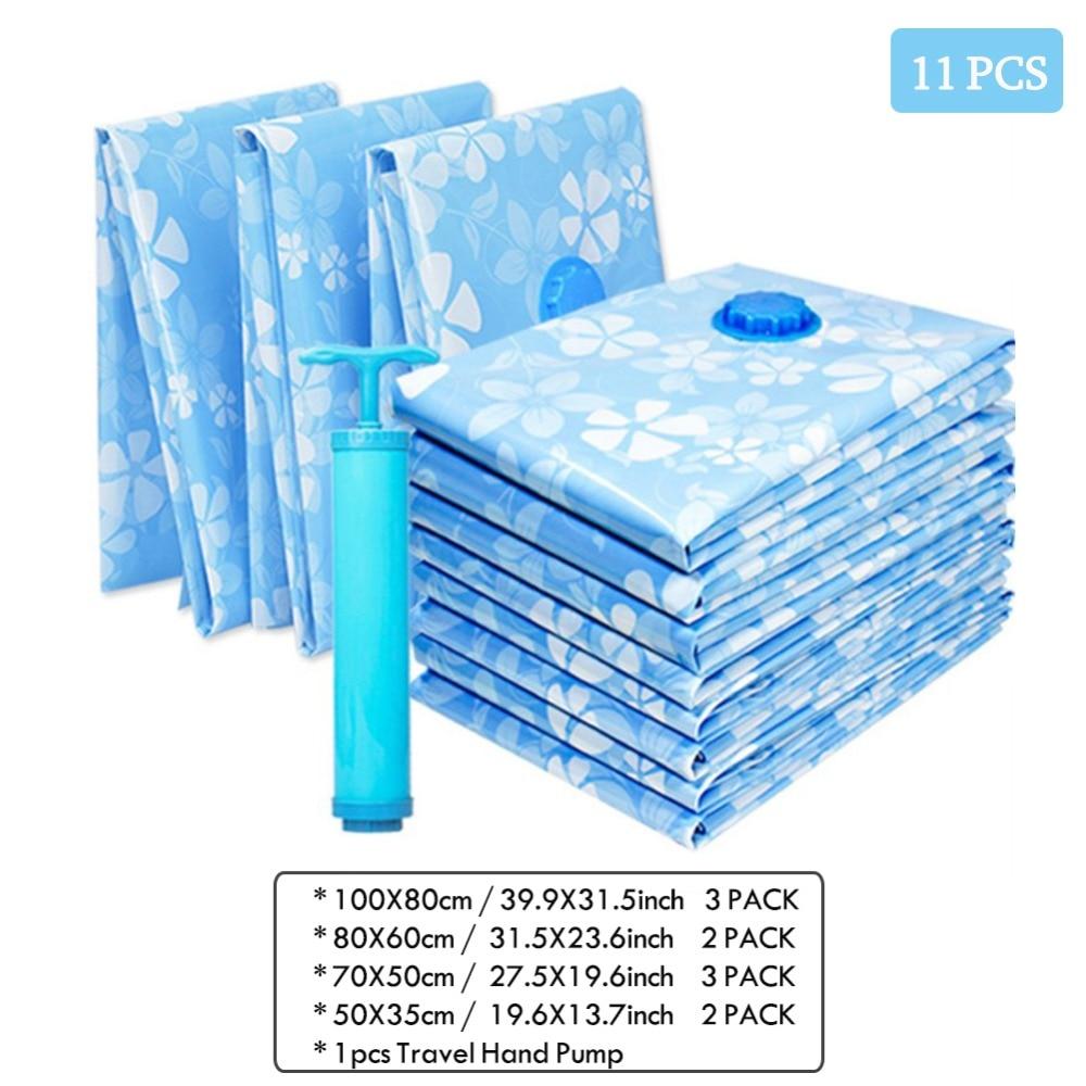 11PCS Espessamento Vácuo Saco De Armazenamento De Pano Saco Comprimido com Bomba de Mão Reutilizáveis Roupas Cobertor Colcha Organizador