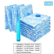 11 pçs engrossado saco de armazenamento a vácuo para pano saco comprimido com bomba mão cobertor reutilizável roupas colcha organizador