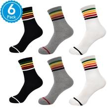 ФОТО 6 pairs summer fancy woman socks cotton wife ladies rainbow socks cool hip hop women hipster streetwear crew socks for women