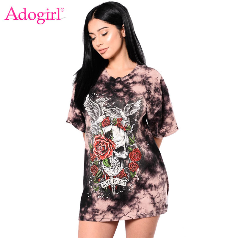 4beb53752862 Adogirl Floral Skull Print Women T-shirt Dress O Neck Short Sleeve Back  Lace Up