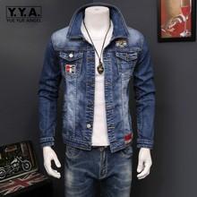 Korean Slim Fit Jeans Jacket For Men Washed Denim Fashion Motor Biker Long Sleeve Outwear Coat
