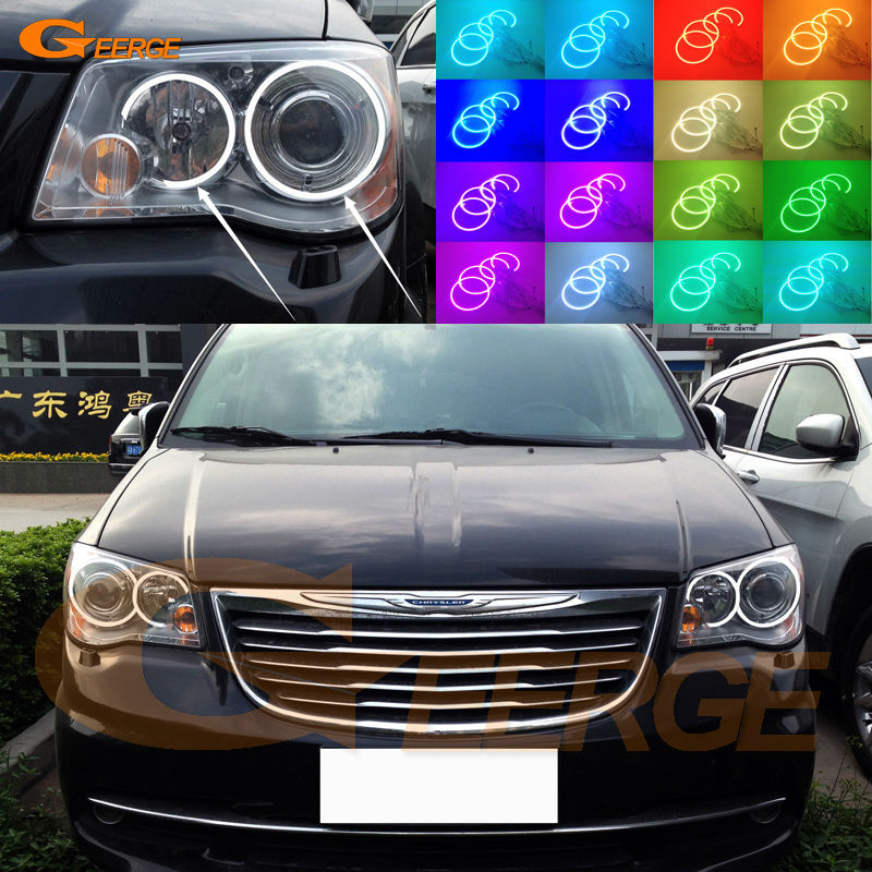 For Chrysler Voyager Grand Voyager 2008-2014 Excellent Angel Eyes kit Multi-Color Ultra bright RGB LED Angel Eyes Halo Rings