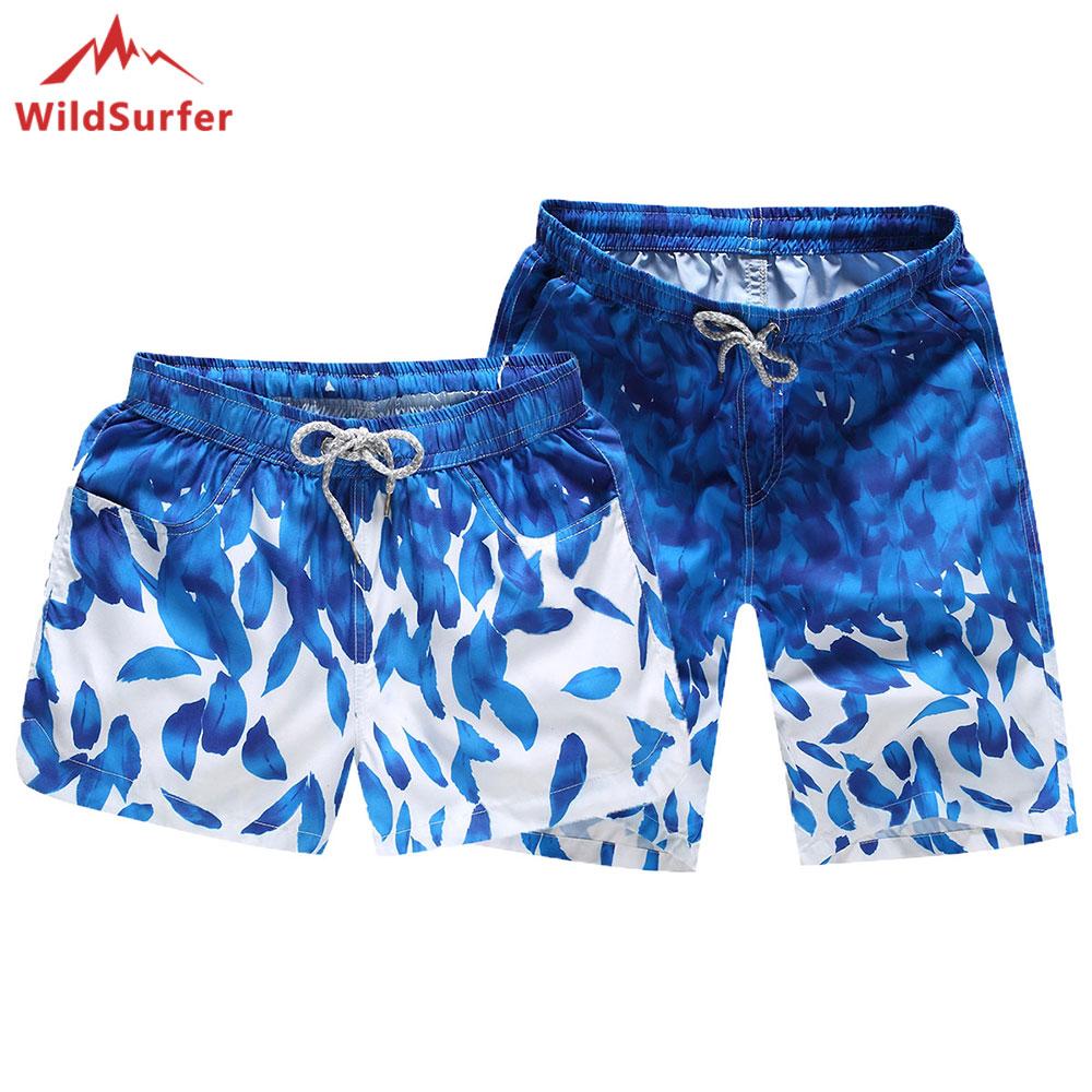 2018 WildSurfer Quick Dry Beach Shorts For Couple Swimwear Men Surf Short Pants Male Summer Women Swim Short De Bain Femme 1802
