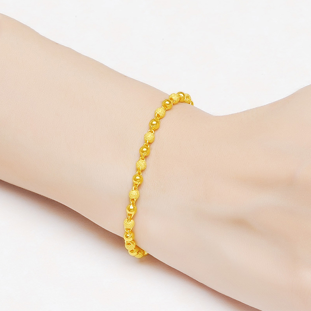 JLZB 24K Pure Gold Bracelet Real 999 Solid Gold Bangle Smart Fashion Frosted Bead Trendy Classic Fine Jewelry Hot Sell New 2020 3