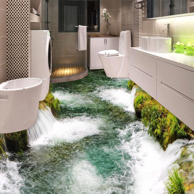 Custom Flooring Mural Wallpaper River Waterfall Toilet Bathroom Bedroom 3D Floor Painting PVC Waterproof Sticker Wall Paper Roll