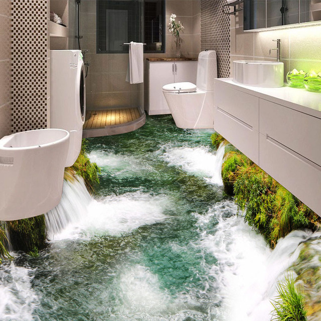 Revêtement De Sol Personnalisé Mural Papier Peint Rivière Cascade Toilette  Salle De Bain Chambre 3D Peinture