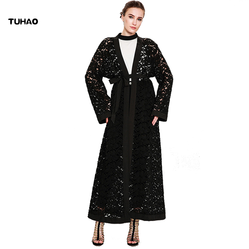 TUHAO 2018 plus size 5XL 4XL long   trench   coat Women Summer Muslim Open Stitch Coat Lace Hollow Out Lace-up Butterfly Coats CM46