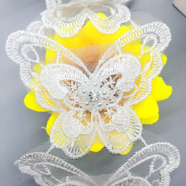 1yd 2-Layer Organza Rhinestone Butterfly Embroidered Lace Trim Applique  Trimmings Ribbon Fabric Wedding Dress Veil Sewing Craft 937ceca06c3d