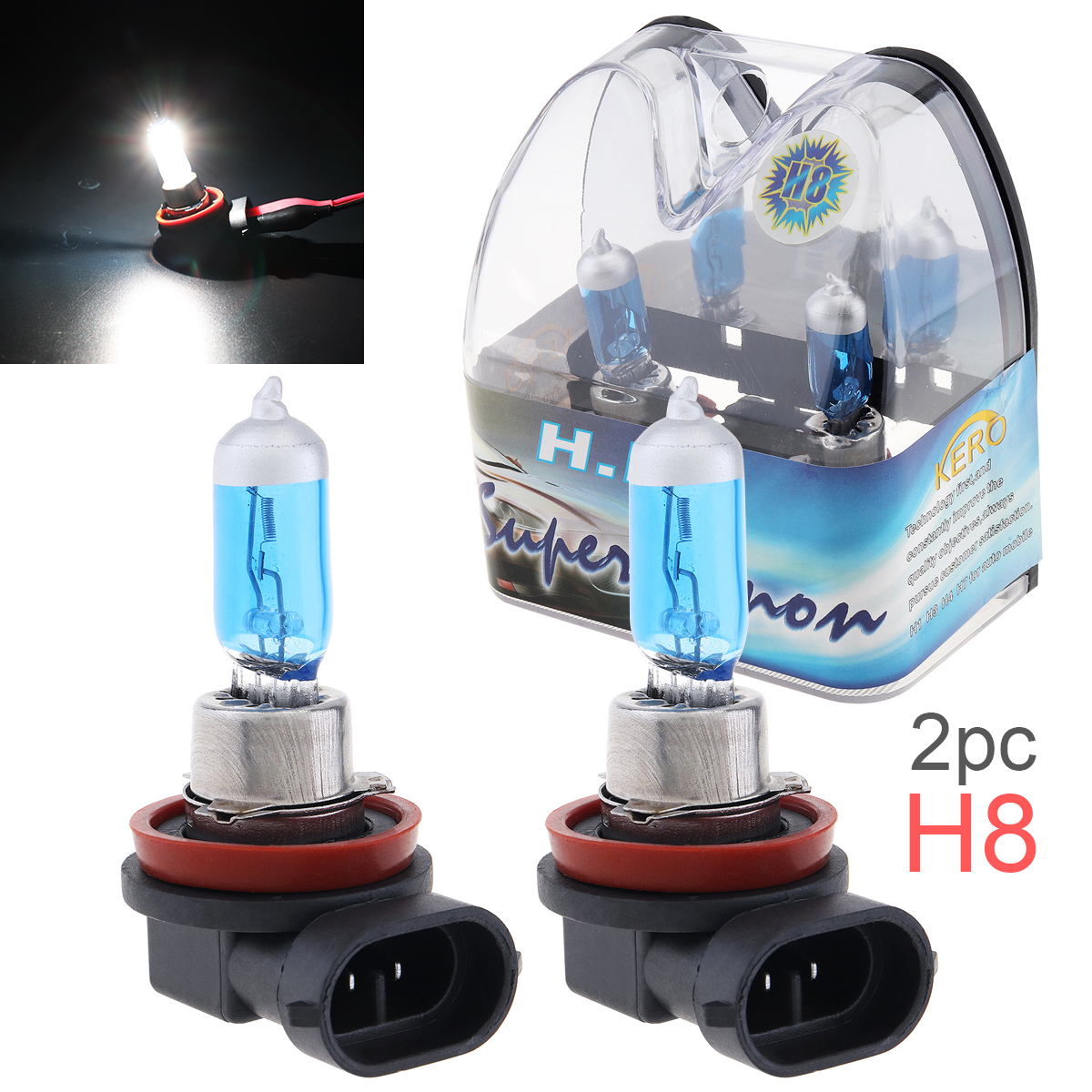 2pcs 12V <font><b>H8</b></font> 35W 6000K <font><b>White</b></font> Light Super Bright Car Xenon <font><b>Halogen</b></font> Lamp Auto Front Headlight Fog Bulb image