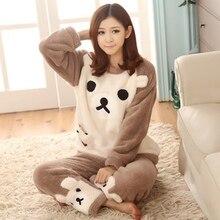 Cute Bear Winter Pajamas Coral Flannel Animal Pyjama Pajama