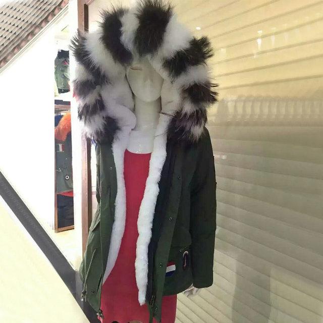 Zwart Witte Winterjas.Nieuwe Modieuze Badge Zwart Wit Grote Fur Hooded Wit Bont Liner