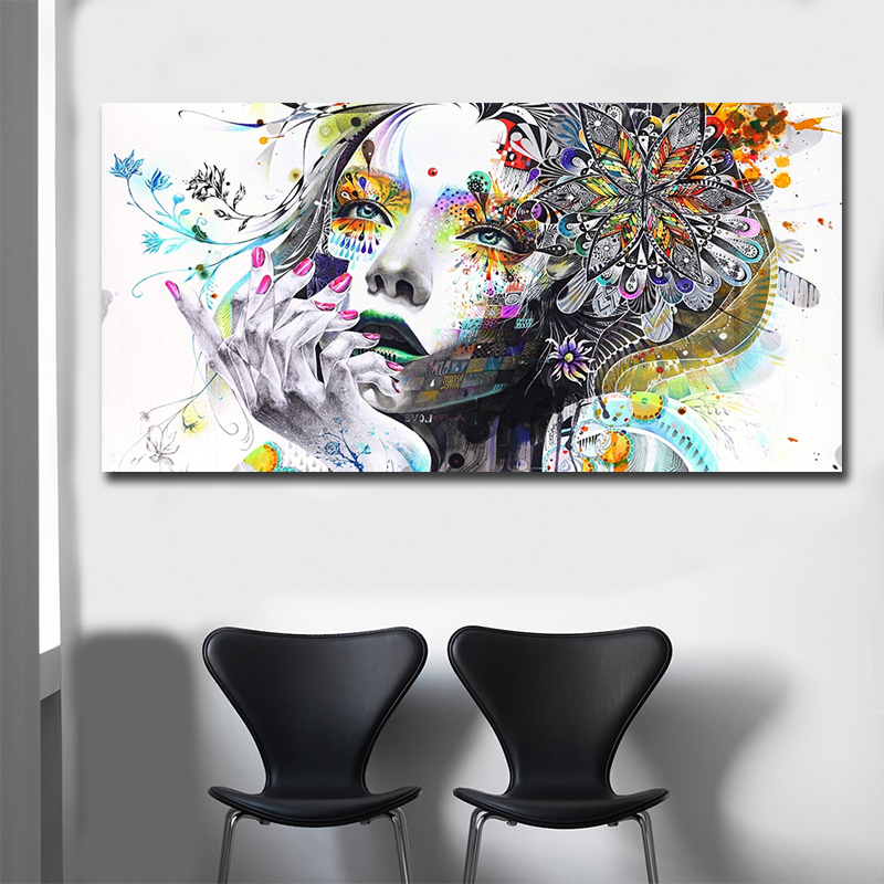 HTB10yIIUSzqK1RjSZFLq6An2XXat Beautiful Flower Girl Painting Canvas Wall Art Posters Print Pictures For Bedroom Home Decoration No Frame Discount Dropshiping