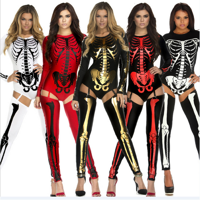 2018 new high quality Skeleton Zentai Party bar DS nightclub show Skull cosplay clothing Horror Zombie Ghost Costume Halloween