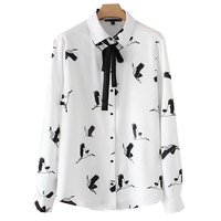 2018 Spring Birds Print Bow Tie Chiffon Long Sleve Shirt Blouse