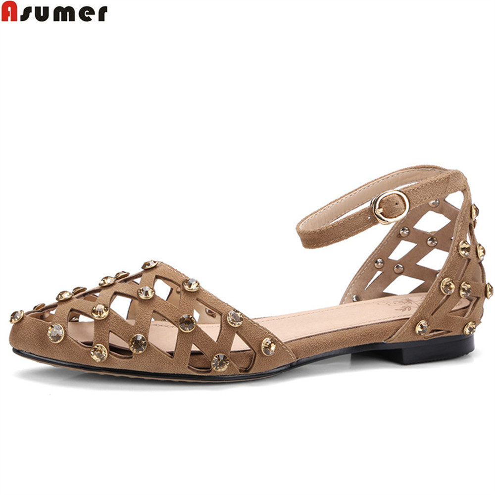 ASUMER black apricot fashion summer ladies shoes pointed toe casual crystal low heel sandals buckle suede