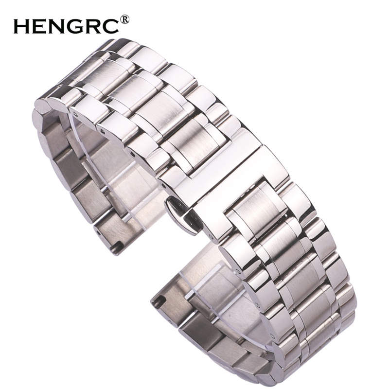 Stainless Steel Watch Band Bracelet 18mm - 24mm Women Fashion Metal Watchbands Strap Wristband Butterfly Clocks Accessories