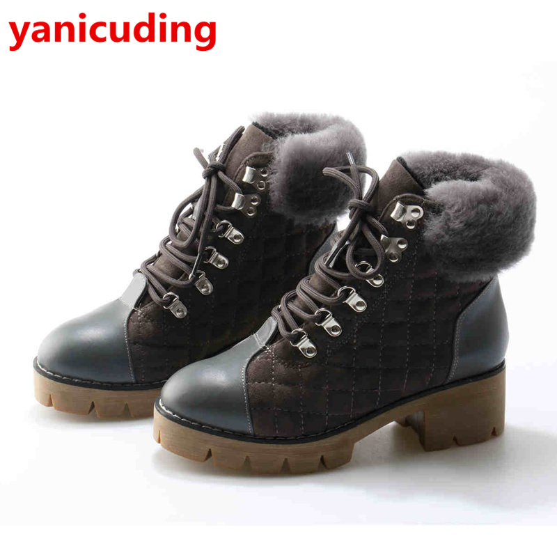 Women Winter Warm Boots Platform Shoes Fur Decor Brand Design Snow Boots Front Lace Up Metal Embellished Runway Super Star Shoes
