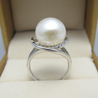 Вечное Свадебное женское Подарочное слово 925 Стерлинговое Серебро, Настоящее натуральное кольцо из пресноводного жемчуга Taihu Настоящее сер