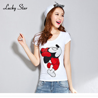 LUCKY STARG New Diamonds Tee Shirt Femme Summer Style Women Mickey T Shirt Women Short Sleeved