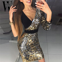 WYHHCJ 2018 Sexy Deep V Neck Summer Dress Sided Sleeveless Sequined Party Dresses Bodycon Patchwork Mini