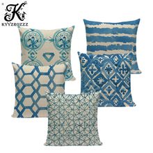 Nordic geometric cushion cover blue Plaid Geometric Cotton and linen home cushions Square Sofa Seat Luxury throw pillows custom