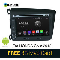 IOKONE Android 4 4 Car Stereo DVD CD Video Player For Honda Civic 2012 With GPS